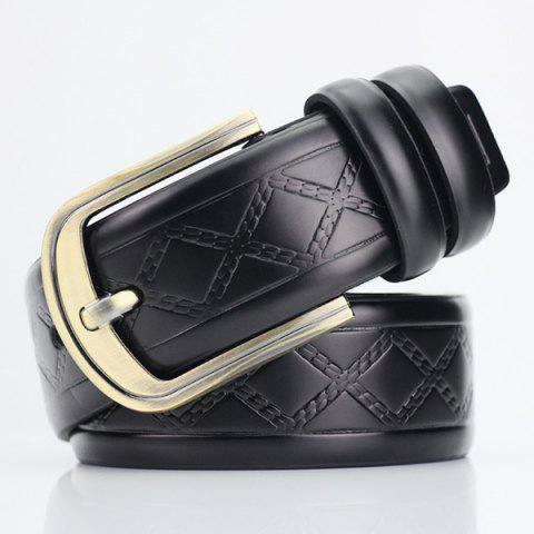 Unique Rhombus Plaid Embossed Pin Buckle PU Wide Belt