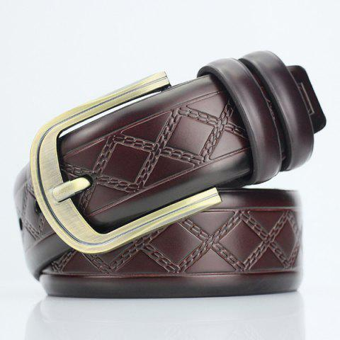 Rhombus Plaid Embossed Ardillon PU Ceinture large Café