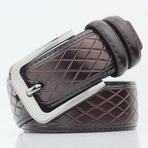 Online Rhombus Mesh Plaid Pin Buckle PU Wide Belt