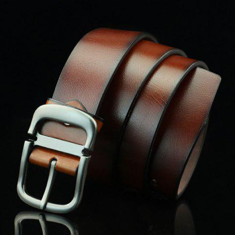 New Cut Off Pin Buckle PU Wide Belt - BROWN  Mobile