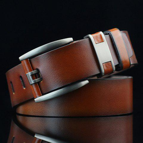 Shop Brief Hollow Out Roller Buckle PU Wide Belt - BROWN  Mobile