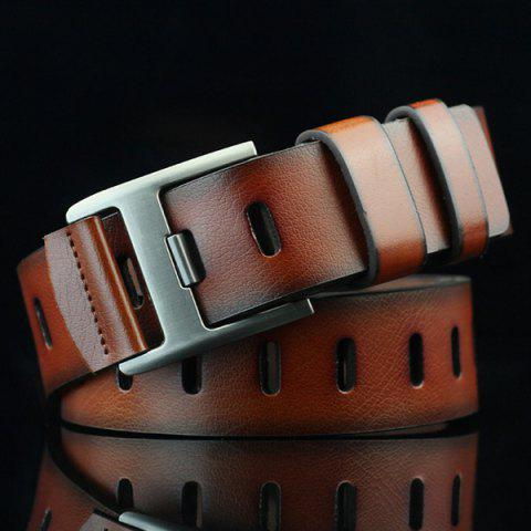 Discount Brief Hollow Out Wide Hole PU Belt - BROWN  Mobile