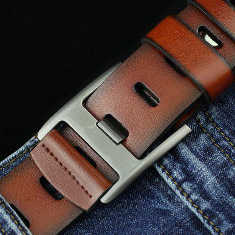 Cheap Brief Hollow Out Wide Hole PU Belt - BROWN  Mobile