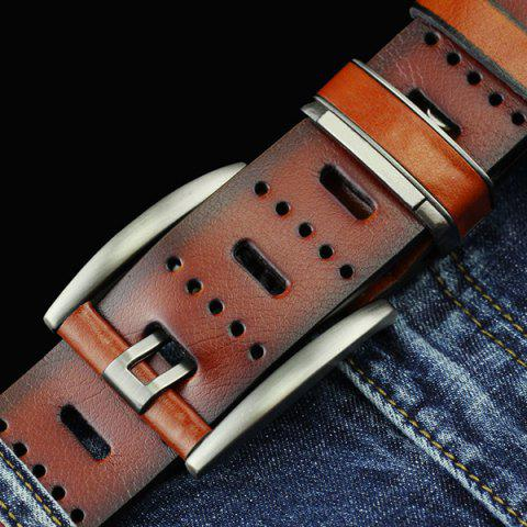 Fancy Brief Hollow Out Small Hole Roller Buckle PU Belt - BROWN  Mobile