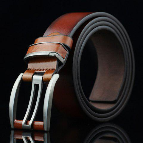 Discount Brief Hollow Out Small Hole Roller Buckle PU Belt - BROWN  Mobile