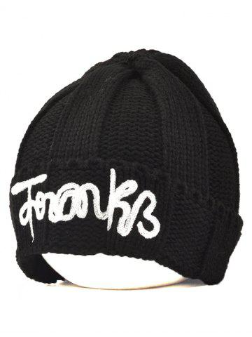 Shop Winter Knitting Patterns Letter Hat with Writing BLACK