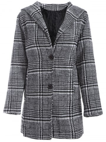 Shop Pom Ball Houndstooth Pattern Plus Size Hooded Coat