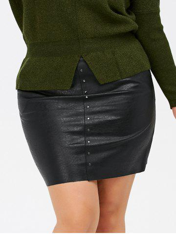Sale Pockets Round Rivet Plus Size PU Leather Skirt