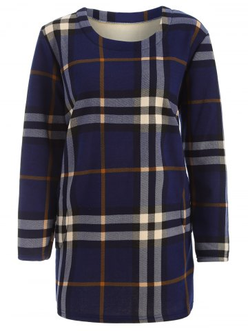 Buy Tartan Pattern Thicken Plus Size Long Sleeve T Shirt BLUE 4XL