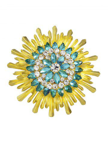 New Enamel Faux Crystal Flower Brooch - YELLOW AND GREEN  Mobile