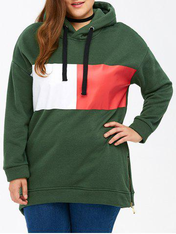 Affordable Color Block Rectangle Pattern Plus Size Drawstring Hoodie