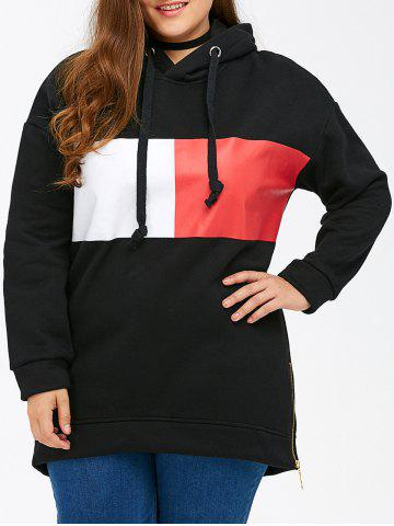 Color Block Rectangle Pattern Plus Size Drawstring Hoodie - Black - 4xl
