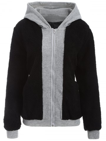 Cheap Faux Shearling Panel Plus Size Thicken Hoodie