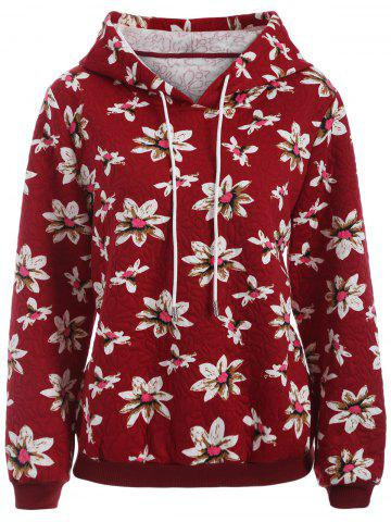 Sale Casual Floral Print Plus Size Drawstring Hoodie