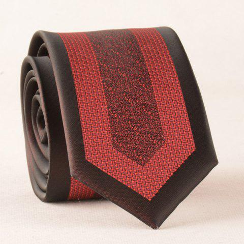Latest Retro Polyester Geometry Jacquard Neck Tie RED