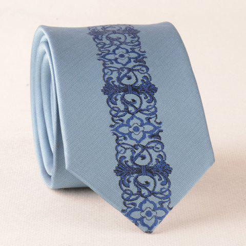 Affordable Retro Floral Paisley Slim Designer Neck Tie BLUE
