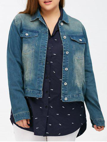 Chic Bleach Wash Flap Pockets Short Denim Jacket
