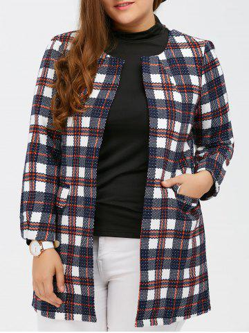 Online Open Front Flap Pockets Plaid Coat PLAID 5XL