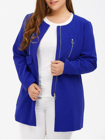 Plus Size Zipper Design Flap Pockets Coat - Blue - Xl