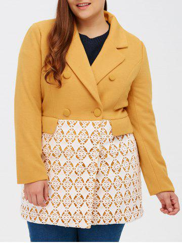 Fancy Woolen Floral Crochet Panel Coat