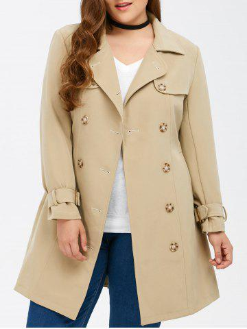 Plus Size Belted Double Breasted Long Trench Coat - Light Khaki - 4xl