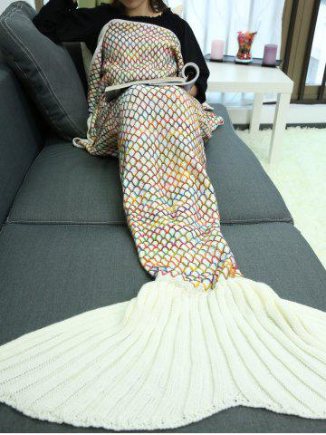 Unique Home Sofa Rhombus Design Knitted Throw Bed Mermaid Blanket - BEIGE  Mobile