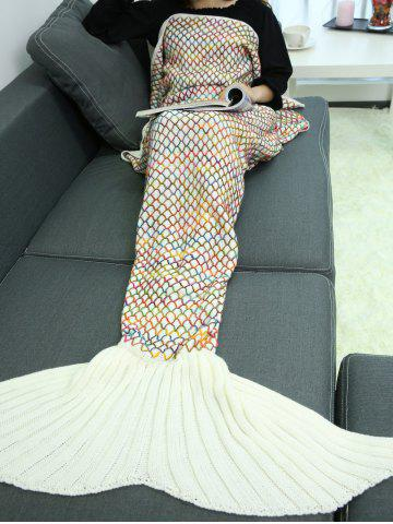 Online Home Sofa Rhombus Design Knitted Throw Bed Mermaid Blanket