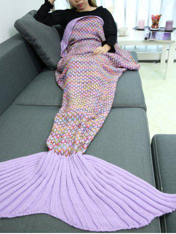 Discount Home Sofa Rhombus Design Knitted Throw Bed Mermaid Blanket RADIANT