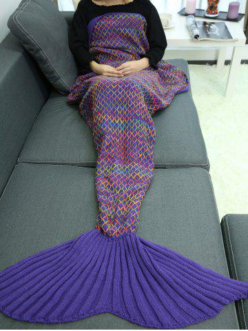 Home Sofa Rhombus Design Knitted Throw Bed Mermaid Blanket - DEEP PURPLE