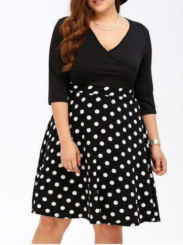 Best Plus Size Polka Dot Surplice Dress BLACK 5XL