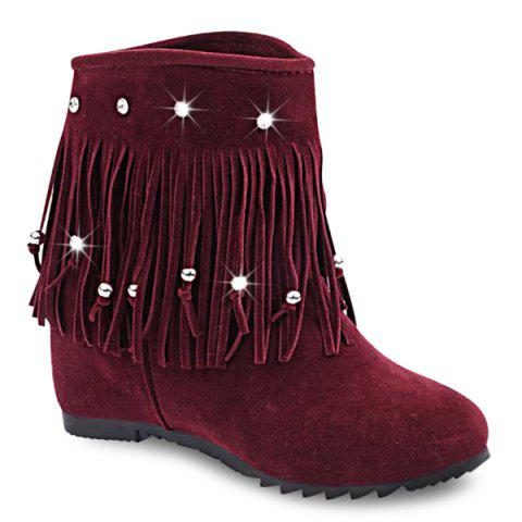 Rhinestones Hidden Wedge Short Boots - Wine Red - 39