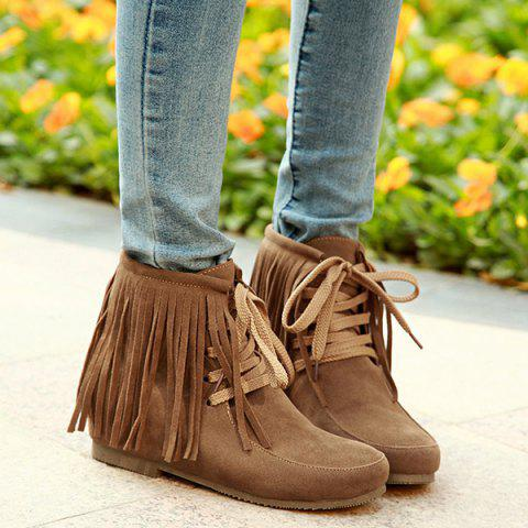 Best Tie Up Increased Internal Fringe Ankle Boots