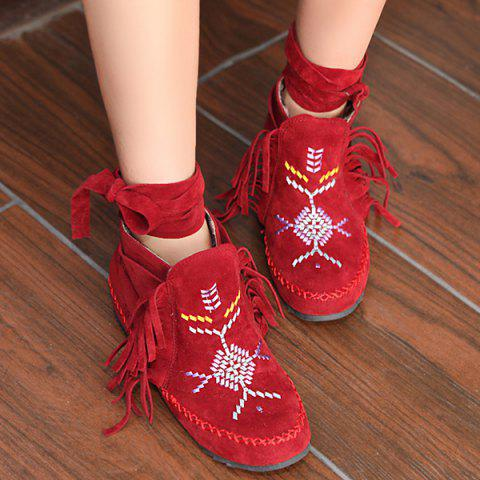 New Embroidery Fringe Lace Up Boots
