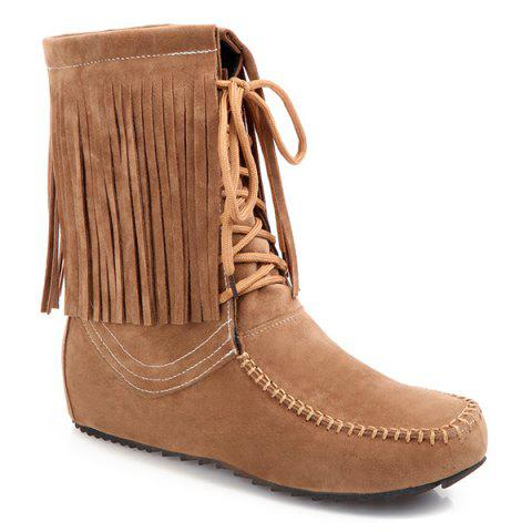 Hot Stitching Fringe Tie Up Short Boots LIGHT BROWN 39