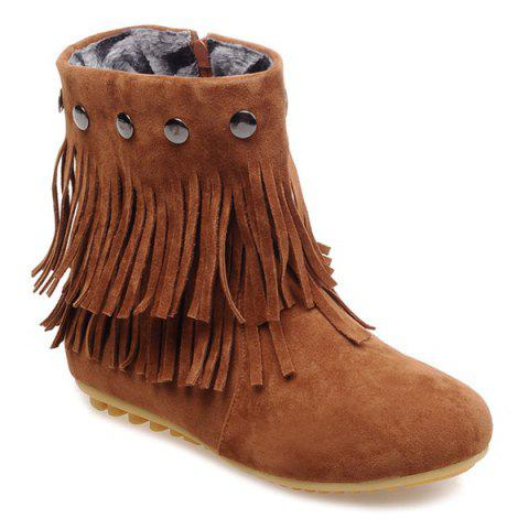 Affordable Metal Layer Fringe Zipper Ankle Boots BROWN 39