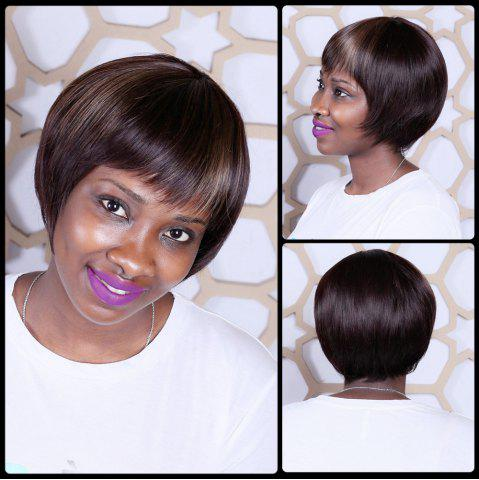 Chic Short Mixed Color Neat Bang Straight Synthetic Wig