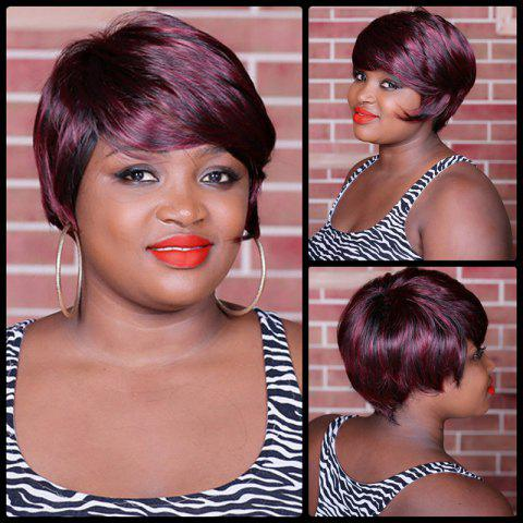 Chic Short Double Color Full Bang Spiffy Straight Synthetic Wig COLORMIX
