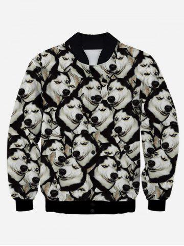 Outfits 3D Animal Print Stand Collar Snap Front Jacket BLACK XL