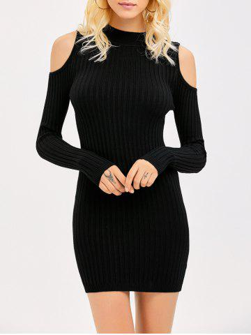 Store Ribbed Cold Shoulder Long Sleeve Bodycon Dress BLACK M