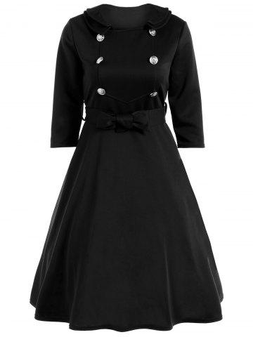 Discount Bowknot Belted Swing Dress BLACK 2XL