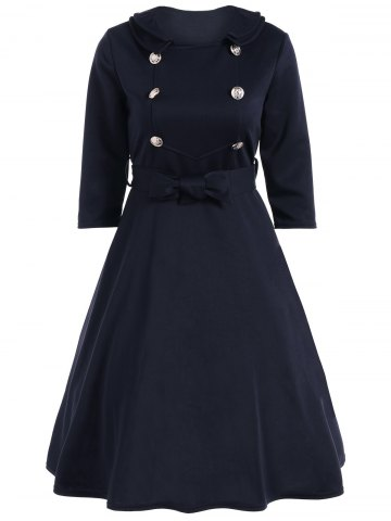 Outfit Bowknot Belted Swing Dress