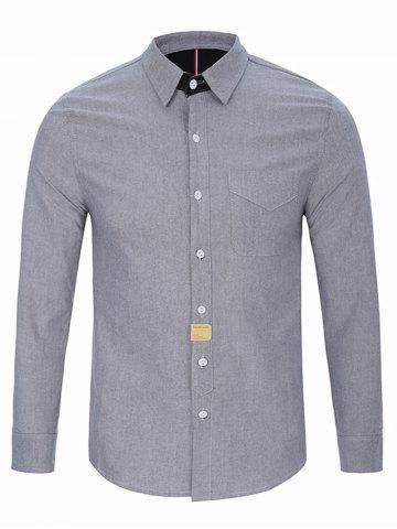 Affordable Turndown Collar Button Long Sleeve Pocket Shirt GRAY 2XL