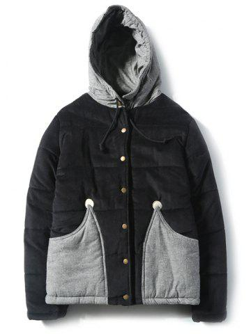 Affordable Color Block Hooded Corduroy Puffer Jacket