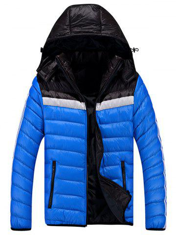 Outfit Zip Up Color Block Striped Hooded Quilted Jacket