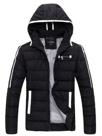 Outfits Striped Hooded Quilted Zip Jacket