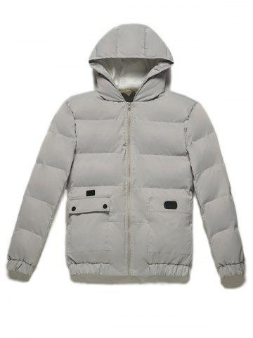Online Zip Up Pocket Design Hooded Puffer Jacket