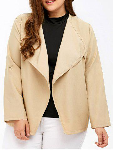 Shops Plus Size Pocket Design Open Front Jacket LIGHT KHAKI 4XL