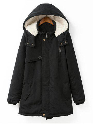 Buy Plus Size Hooded Flocking Coat