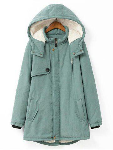 Shop Plus Size Hooded Flocking Coat - XL PEA GREEN Mobile