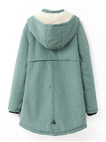 Hot Plus Size Hooded Flocking Coat - XL PEA GREEN Mobile